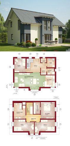 Einfamilienhaus Architektur mit Satteldach und Erker Anbau - Haus Grundriss Evolution 148 V5 Bien Zenker Fertighaus Ideen - HausbauDirekt.de