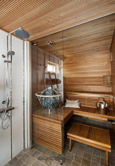 Sauna – Lattialaatat: Albi, K-Rauta – Steam Room Shower, Sauna Steam Room, Sauna Room, Saunas, Home Spa Room, Spa Rooms, Mini Sauna, Sauna Seca, Sauna Shower
