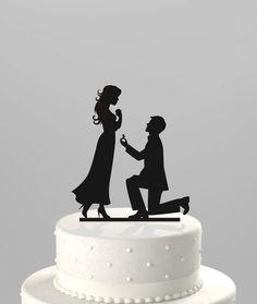 Wedding Cake Topper Silhouette Proposal Groom by TrueloveAffair