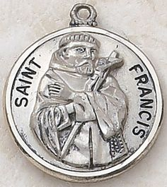 """SAINT FRANCIS MEDAL, Price includes shipping to all fifty states. Solid sterling silver medal, approx. 1"""" in circumference. Gift boxed with a complimentary 20"""" stainless steel chain. Carries the Creed lifetime guarantee."""