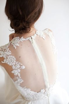 Eve Lace Applique Short Bridal Dress illusion by MarisolAparicio, $990.00