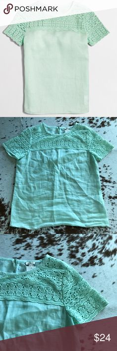 J Crew factory linen lace tee seafoam 8 Brand new. No tags attached but extra button is added to tag. Size 8. Mint/teal color. Linen body and lace top and sleeves. J. Crew Tops Tees - Short Sleeve