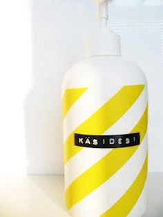 pimped out soap bottle by mamamekko - yellow tape + printed label