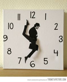 """The Monty Python Ministry of Silly Walks clock is created from cm canvas. John Cleese's character from the classic Monty Python sketch """"The Ministry of Monty Python, Do It Yourself Furniture, Diy Clock, Clock Ideas, Clock Craft, Clock Decor, Make A Clock, Clock Work, Take My Money"""
