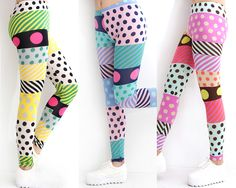 """Leggings BIG SALE!  Only Yellow color left.    A pair of leggings featuring a colorful polka dot and diagonal stripe print.  Elasticized waist band.    Cute and colorful vivid leggings.  For everyday occasion.    DETAILS:   Three Colors: Yellow, Pink, Sky Blue,  One size fits most,  36"""" approx. i..."""