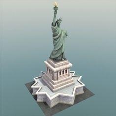 jewelry golden pendant statue of liberty 3d print model liberty