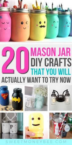 The best DIY mason jar crafts for kids to create at home. From DIY rustic farmhouse to spring and DIY decoration for Christmas, this board features all easy homemade gifts using mason jars. These include home decor crafts to make and sell for cash. Fun Easy Crafts, Crafts To Make And Sell, Diy And Crafts, Decor Crafts, Creative Crafts, Kids Crafts, Craft Projects, Uses For Mason Jars, Mason Jar Crafts