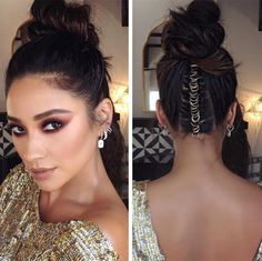 Shay Mitchell topknot braid with rings