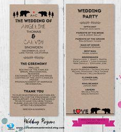 DIY Rustic Wedding Program Template Printable Editable Program PDF - Editable wedding program templates
