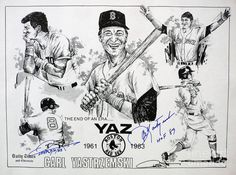 Carl Yastrzemski Retirement Tribute Newspaper Poster, drawn by Dave Olsen
