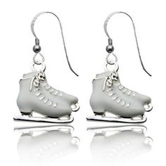 Silver Enameled Figure Skating Earrings by First String Jewelry