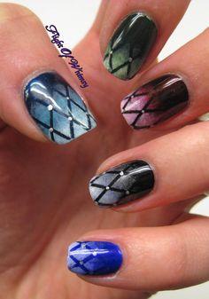 lattice gradient skittles nail art