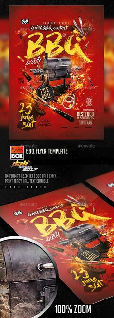 BBQ Flyer Template — Photoshop PSD #monkeybox #bbq • Download ➝ https://graphicriver.net/item/bbq-flyer-template/19986555?ref=pxcr