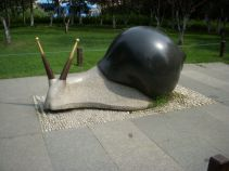 Stone sculpture of a snail that shows amazing creativity of Chinese aritists.