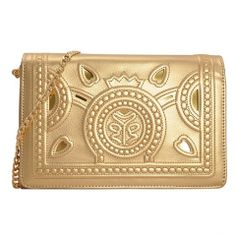 Gold Vintage Cut Out Bag with Chain Model