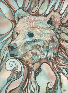 Items similar to Grizzly Bear - print of art in soft pastel earth tone, wildlife nature forest woods woodland mountains wild, watercolor painting artwork on Etsy Art And Illustration, Illustrations, Spirit Bear, Spirit Animal, Bear Totem, Bear Print, Watercolor Artwork, Bear Watercolor, Canvas Prints