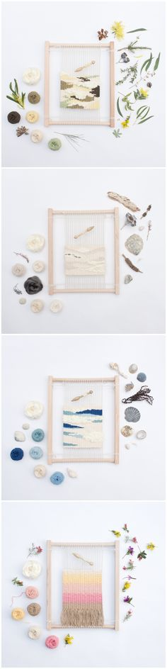 Limited edition Eco Weaving Kit by Alchemy. A handmade, 14 piece beginners weaving kit featuring an artisan made wooden loom and bobbin and natural dyed organic yarns. http://thealchemystore.bigcartel.com