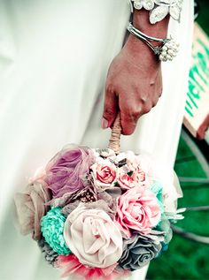 Yes, fabric flower bouquet. I want white lace, teal, and burlap. With little pearls in the middle of some of the flowers =)