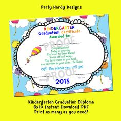 Oh the places you will go Printable Kindergarten/Pre School Graduation Diploma. by partyhardydesigns on Etsy