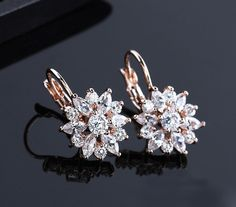 CZ+Clip+Earrings+Rose+Gold+Plated - $0.65