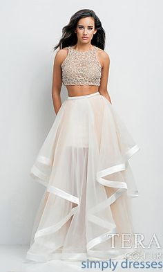 Long Two Piece Prom Dress by Terani P0102 at SimplyDresses.com