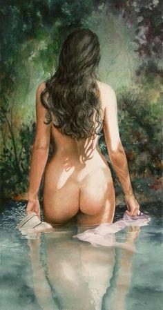 Beautiful, tasteful nude painting by contemporary visual artist Serena Rose Figure Painting, Painting & Drawing, Painter Artist, Arte Pop, Beautiful Paintings, Rose Paintings, Erotic Art, Figurative Art, Female Art