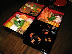 Japanese food in beautiful lacquer box