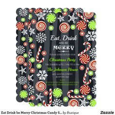 Eat Drink be Merry Christmas Candy Snowflakes Card #EatDrinkbeMerry #Christmas #Candy #Snowflakes #Card #christmascard #invitation #christmasparty #christmaspartyideas #christmasprintables  #christmaspartyinvitation