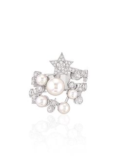 Comète Ring in 18K white gold, cultured pearls and diamonds - CHANEL