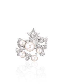 Sortija Comète en oro blanco de 18 quilates, perlas cultivadas y diamantes - CHANEL
