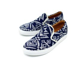 Shoes :: Tribal Blue Knit Custom Slim On-Shoes 333 - Mens Fashion Clothing For An Attractive Guy Look