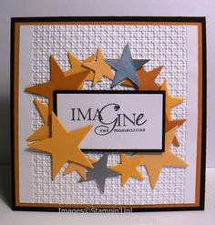 Imagine the Possibilities - and the happiness this handmade graduation card will bring to your graduate!  Black, gold, white and silver colors with a bunch of punched-out stars look great on top of the embossed card base.