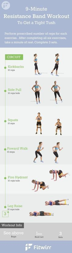 9-Minute Resistance Band Exercises for women. You don't have to lift heavy dumbbells or a medicine ball to get a great workout at home. Follow this 9 minute exercise band workouts to firm your butt, legs and inner thighs. #firmbutts #resistancebands