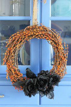 Halloween Crow and Roses Wreath Orange and Black
