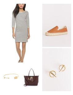 Easygoing and effortless, the striped shift is a classic piece that's not only great for summer, but can also transition into fall with the addition of tights and booties. For this look, I have styled it with the super comfortable Soludos espadrilles and bordeaux tote by Zac Posen. Contemporary jewelry completes this look.