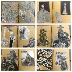 fashion sketchbook pages by Anna Ackred - exploring textures #fashion #design #drawings