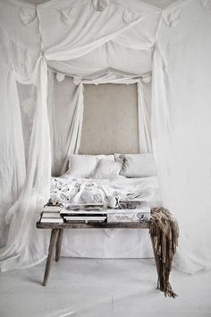 White, bed, bedroom, bedding, canopy
