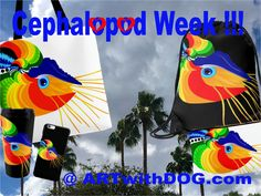 Cabo, Fiesta Nautilus, is celebrating Octo-ober and his Favorite Week !  Octopuses, Nautilus, Seahorses, starfish …. @ ARTwithDOG.com   #Cephalopod #Nautilus #octopus #PalmTrees #Party #Beach #sea #Ocean #marinelife #Tropical #Totebags #Travel #bags #pouches #iPhonecases #iphone7 #phonecases #coffeemugs #TravelMugs #CephalopodWeek