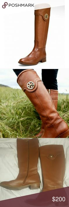 Tory Burch Classic Selma Riding Boots 100% authentic. GORGEOUS boots. Well made. They have been loved and very well taken care of. The lining in the boots is amazing. The boots are stunning.  Additional photos available upon request!  Made in Brazil.. size 40/10.   I think they are sized a little small. Tory Burch Shoes Over the Knee Boots