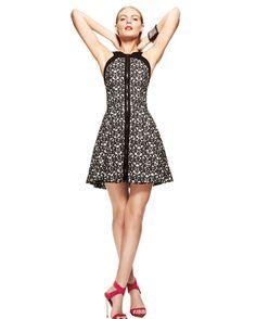 Robert Rodriguez Lace Print Open Back Zipper Dress @INTERMIX
