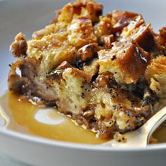 Bread Pudding with Bourbon, Pecans & Butterscotch