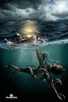 El Kraken by oscargrafias on DeviantArt Dark Fantasy Art, Dark Art, Fantasy Creatures, Mythical Creatures, Sea Creatures, Octopus Tattoos, Octopus Art, Monster Art, Davy Jones