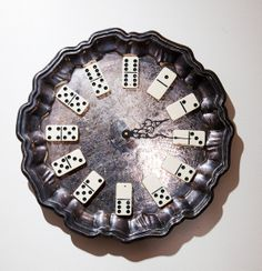 Upcycled silver clock with vintage dominoes by waterlilygallery, $75.00