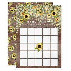 Rustic Autumn Sunflower BINGO Baby Shower Game Invitation Sunflower Baby Showers, Baby Shower Flowers, Baby Shower Fall, Fall Baby, Bridal Shower Bingo, Bridal Bingo, Baby Shower Games, Baby Shower Invitations For Boys, Bridal Shower Invitations