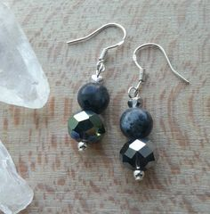 Goth Gemstone Black Moonstone and Metallic Black by HippieChip