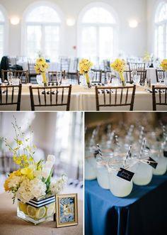 Navy and Yellow Wedding Decor