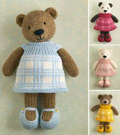 Girl bear in a plaid dress Knitting pattern by Julie Williams - Stofftiere Teddy Bear Knitting Pattern, Knitted Teddy Bear, Animal Knitting Patterns, Baby Knitting, Simple Knitting Patterns, Knitted Bunnies, Bear Patterns, Animal Patterns, Teddy Bears