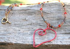 Red Aluminum Heart Pendant Necklace  Wire Wrapped by 2012BellaVida, $20.00 SOLD