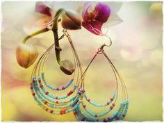 Light Blue and Pink Tear Drop Beaded Earrings by funkyeggart, $20.00
