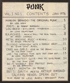 Table of contents, Punk Magazine, Issue 1, January 1976